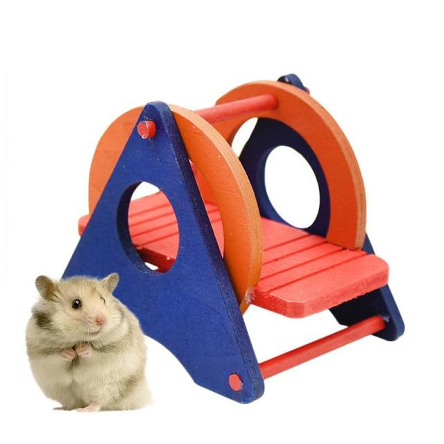Hamster Toys Supplies Seesaw Rat Swing Mouse Harness Parrot Wooden Hamster Swing For Little Pet Exercise Sport Play 1