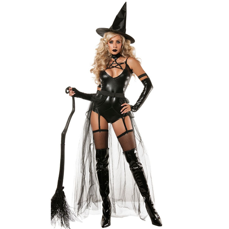 Carnival Lady Sexy Black Demon Evil Witch Costume Patent Leather Leotard Bodysuit Cosplay Halloween Party Fancy Dress