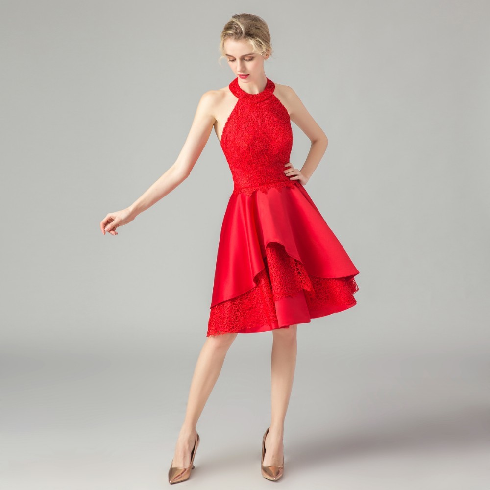 Vivian's Bridal Elegant Lace Appliques Asymmetrical   Cocktail     Dress   Sexy Sleeveless Halter Backless Red Mini   Dress   Party   Dress
