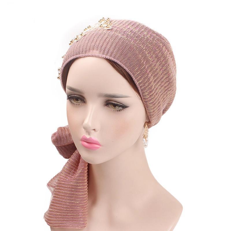 Image 4 - Women Muslim Stretch Turban Lace Flower Long Tail Hijab Scarf Cap  Elegant Bandanas Embroidery Bead Cancer Chemo Head Wrap ScarfIslamic  Clothing