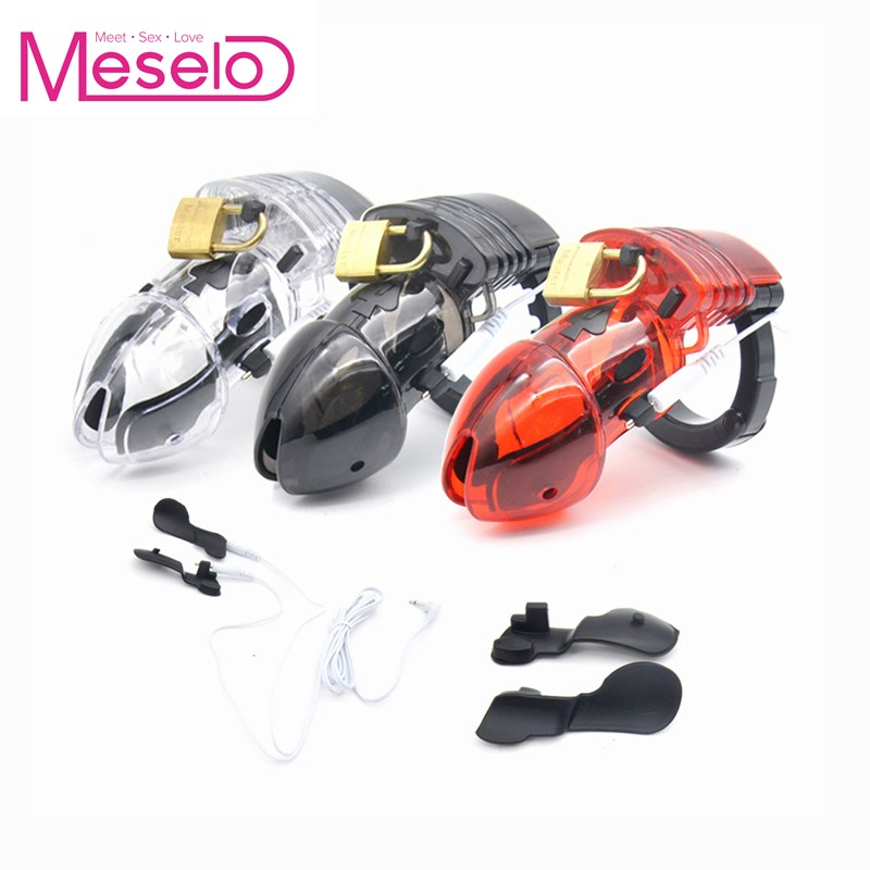 Meselo Electric Shock Penis Chastity Cage Ring, Sex Toy Vibrating Plastic Male Chastity Device Cock Cages Ring Virginity LockMeselo Electric Shock Penis Chastity Cage Ring, Sex Toy Vibrating Plastic Male Chastity Device Cock Cages Ring Virginity Lock