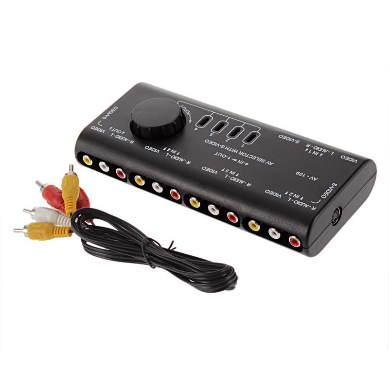 <font><b>4</b></font> Input 1 Output Audio Video Signal Switcher Splitter Selector AV <font><b>RCA</b></font> Switch Box+<font><b>RCA</b></font> <font><b>Cable</b></font> For Television DVD VCD image