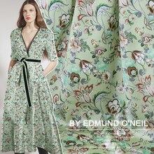 dfd1c227d4 2019 zielony kwiat kwiaty letnia sukienka materiał Stretch tkaniny jedwabne  satyny szerokość 42 cal 108 cm
