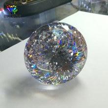 Büyük boy 30 ~ 100mm yuvarlak parlak kesim CZ taş 1 adet/grup 5A kaliteli beyaz kübik zirkonya sentetik taşlar takı için