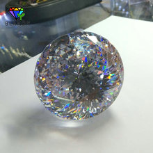 Big Size 30~100mm Round Brilliant Cut CZ Stone 1pc/lot 5A Quality White Cubic Zirconia Synthetic Gems For Jewelry