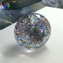 Gemas sintéticas de circonia cúbica color blanco brillante redondo de 30 100mm para joyería, lote de 1 unidad, calidad de 5A grande