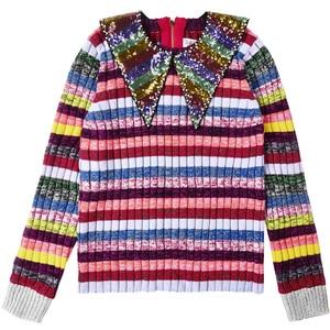 Image 3 - Suéter de lujo con lentejuelas de arco iris para mujer, jerséis con cuello para mujer, de diseñador de pasarela a rayas, jerséis de Navidad para mujer, ropa de Jersey 2020