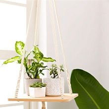 Macrame Shelf Plant Hanger Indoor Hanging Planter Basket Holder Home Decor Cotton Rope 45 Inch