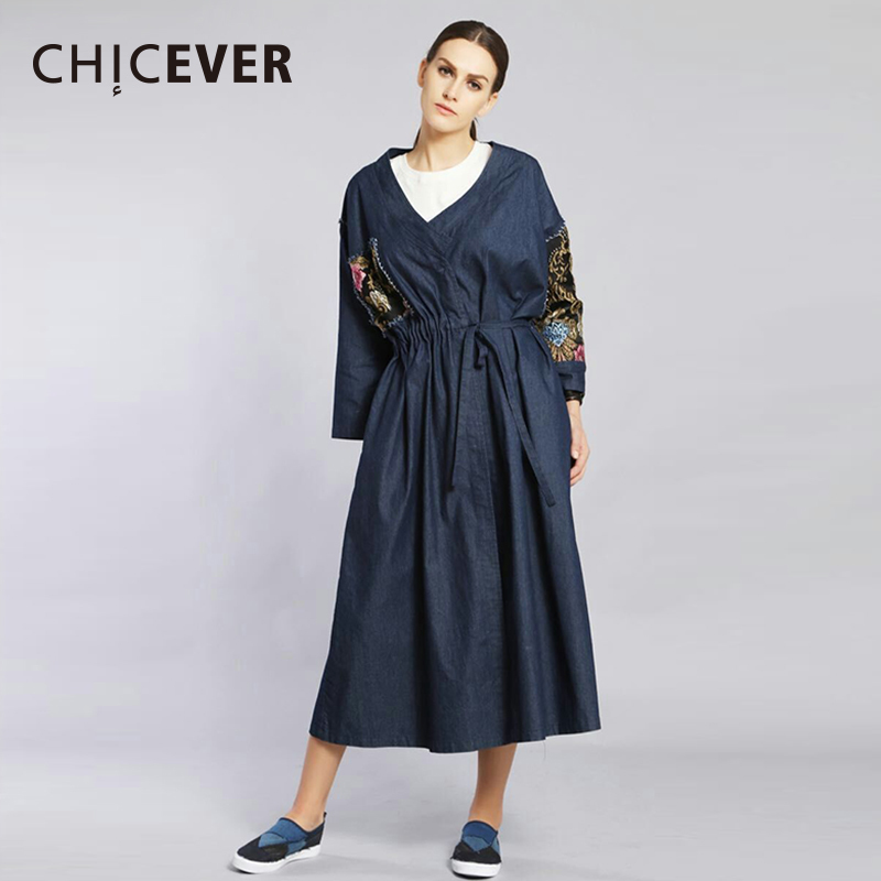 CHICEVER Embroidery Floral   Trench   Coat For Women Windbreaker Long Sleeve Loose Oversize Slim Lace Up Autumn Denim Coats New