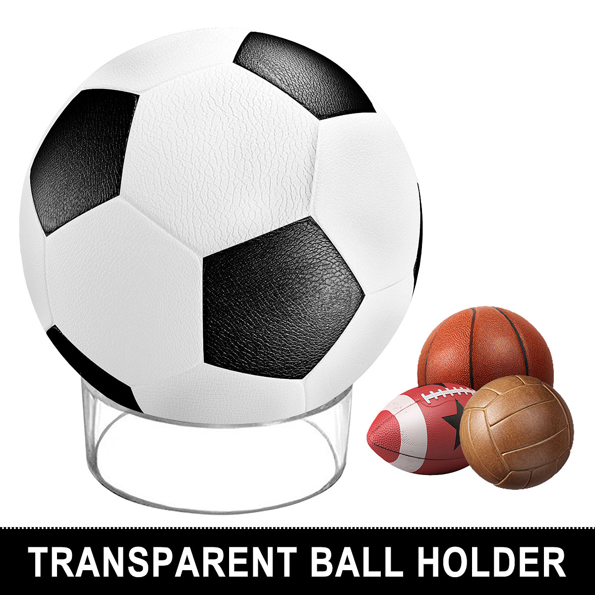 Transparent Acrylic Ball Stand Display Holder Rack Support Base For Soccer Volleyball Basketball Football Rugby Ball