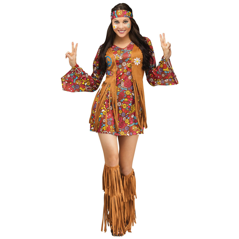 Halloween Ladies Native Indian Tribe Princess Girl Fancy Dress Party Flower Long Selves Mini Dress With Foot Cover