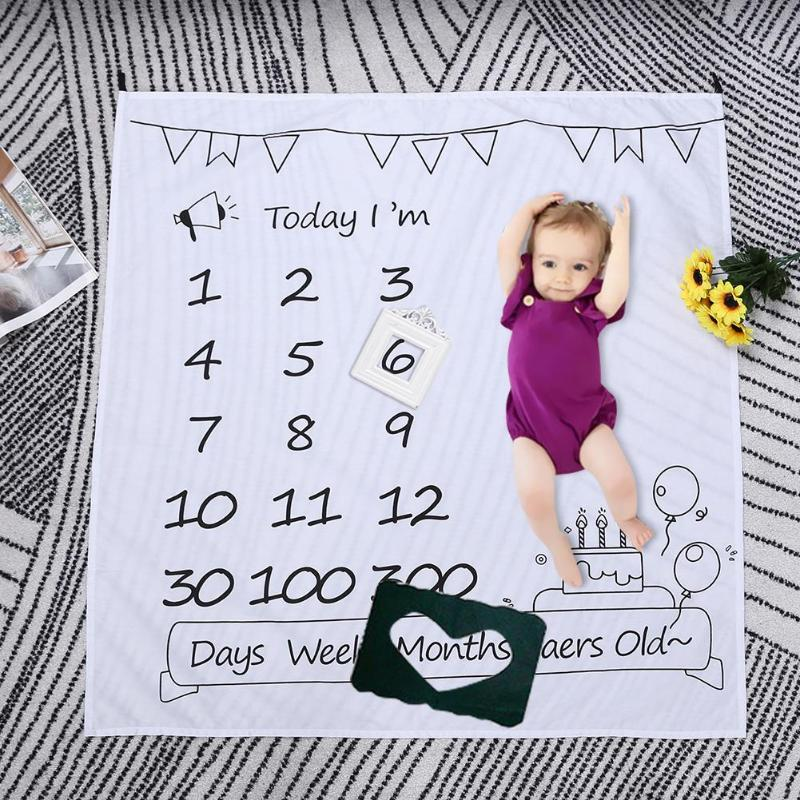 Baby Blanket Newborn Swaddle Stroller Bedding Wrap New Photo Background Monthly Growth Birthday Number Photography Blanket