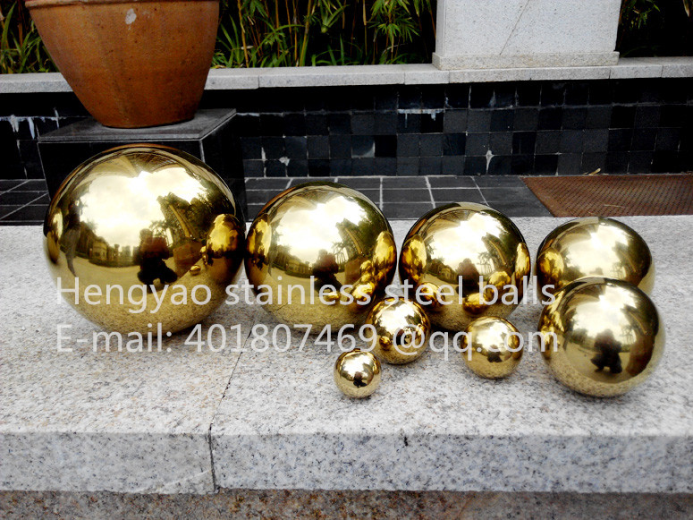 Golden ball Dia 200mm 20cm stainless steel titanium plated gold hollow ball seamless ball home yard interior decoration ball