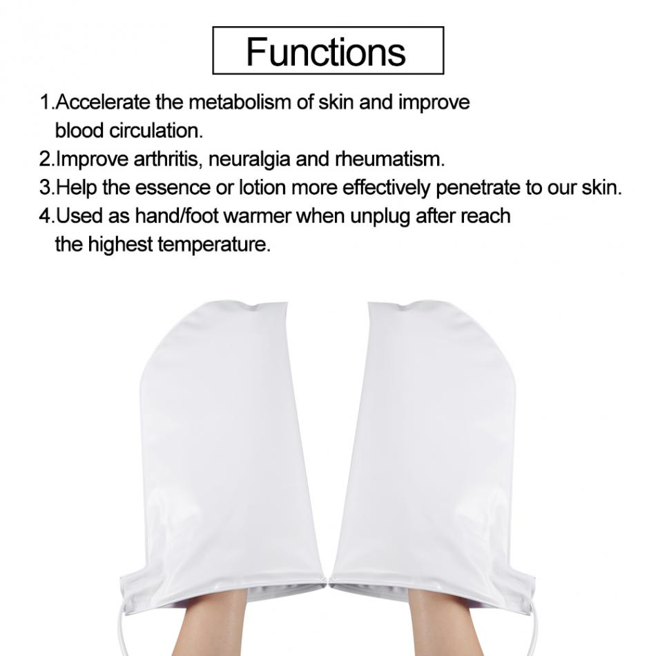 Image 3 - Electric Nail Manicure Gloves Heated Mitts For Paraffin Waxing Therapy SPA Hand Skin Care Heated Wax Mittens Nail Tools US PlugNail Treatments   -