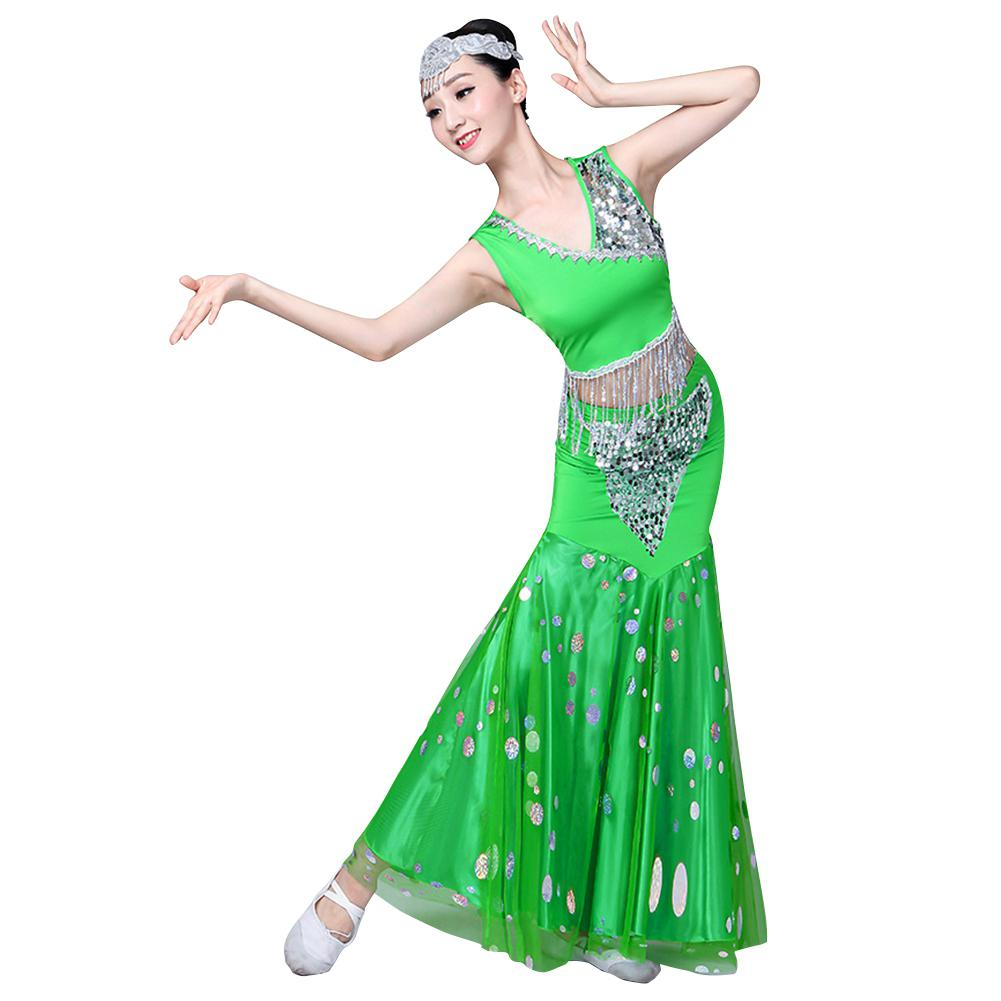 Women Sequins Design Dai Peacock Dance Performance Fishtail Wrap Hip Flower Costumes