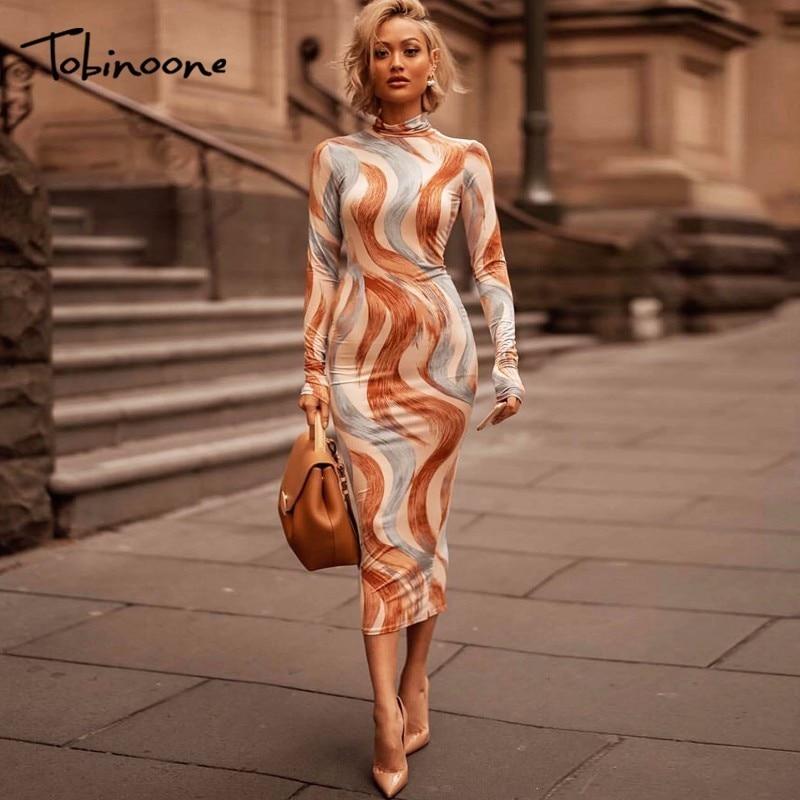 Tobinoone Autumn Elegant Dress Women Sexy Long Sleeve O Neck Print Dress Bodycon Party Vestidos Verano 2018 Kyliejenner Dresses