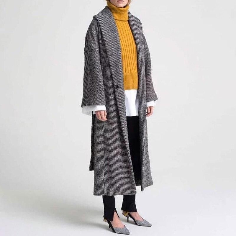 TWOTWINSTYLE Tweed płaszcze sweter damski z długim rękawem Lace Up powrót podział paski kobiety kurtki 2019 jesień moda ponadgabarytowych w Wełna i mieszanki od Odzież damska na  Grupa 2