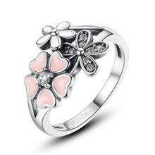 Women Rhinestone Cherry Blossom Pink Enamel White Topaz Heart Engagement Wedding Ring Exquisite Jewelry(8)(China)