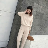 2018 Winter Cotton Two Piece Cashmere Suit Women Fashion Thick Knit Sweatshirts Tracksuit 2Pcs Pant Suit