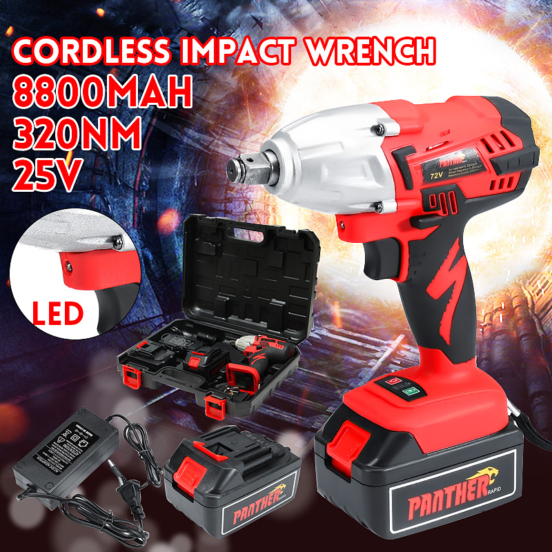 цена на 25V 8800Ah Li-ion Electric Impact Wrench 320Nm High Torque Impact Wrench Cordless 1/2 Batteries 1 Charger Power Tool