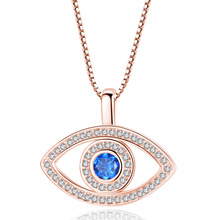 Silikolove 1pair Personality Micro-set Zircon Blue Eye Necklace Temperament Wild Devils Clavicle Chain Jewelry