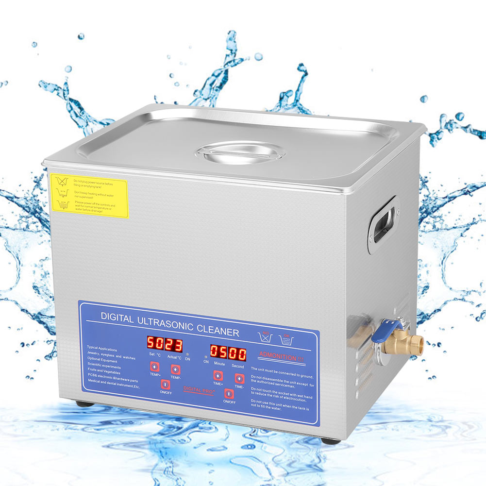 Digital 10L Ultrasonic Cleaner with Degas Heating Timer Bath 60W Ultrasound Machine Dental Watches Glasses Coins