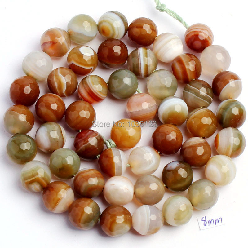 "Free Shipping 8mm Pretty Natural Faceted Mixed Color Agates Onyx Round Shape Loose Beads Strand 15"" DIY Jewelry Making W773"