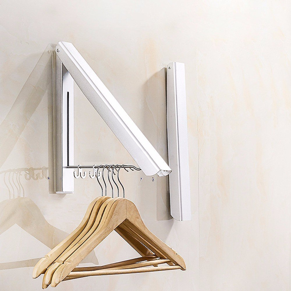 ELEG-Wall Mounted Clothes Airer Washing Line Coat Shirt Dryer Folding/Pull Out Wall Hanger Space Saving Clothes Cupboard Stora