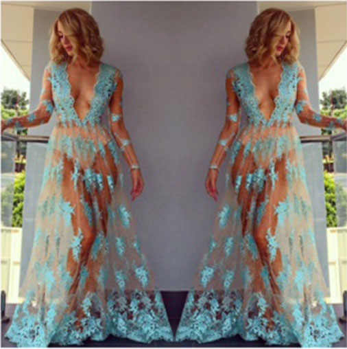 Sexy Dress Women Summer Floral Lace See Through Sundress Long Sleeve V Neck Casual Evening Party Club Long Maxi Dress
