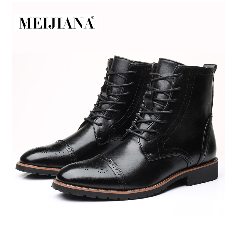 Winter MEIJIANA Men Martens Men Motorcycle Boots Mens Shoes 2018 Boots Oxfords Shoes Fur Doc Leather Boots Hot Autumn Men Ankle