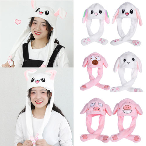 AOLVO Bunny Ears Headband Interesting Rabbit Kawaii Hat Airbag Cap Moving Bunny Ears Magnet Cap Pinch The Paw Ears Will Move Up and Down Plush Funny Toy Gift for Women Kids,White