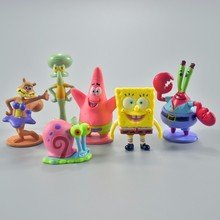 Hot 6pcs Spongebob Patrick Star Octopus Pvc Action Figures Toys Model Collection For Kids Birthday Christmas Gift