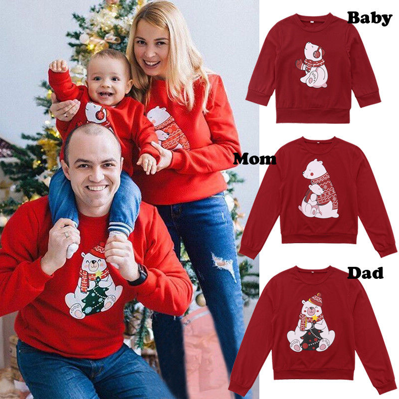 Christmas Family Matching Women Men Kids Sweatshirt Sweater Families Cute Bear Xmas T-shirt  Clothing