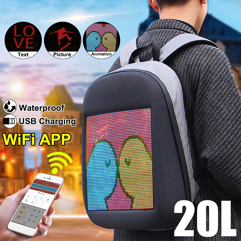 DC 5V LED Dynamic Display WiFi Backpack Laptop Notebook APP Control 20L School Bag Waterproof LED Backpack Bag For AdvertisingDC 5V LED Dynamic Display WiFi Backpack Laptop Notebook APP Control 20L School Bag Waterproof LED Backpack Bag For Advertising