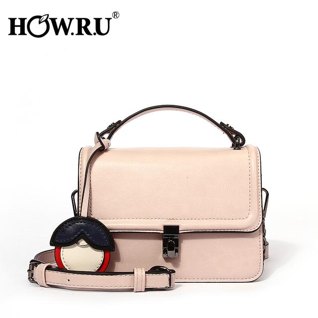 HOWRU Brand Ladies Hand Bags with Chain Small PU Leather Woman's Fashion Handbag Shoulder Bag Square Cross Body Messenger Bags