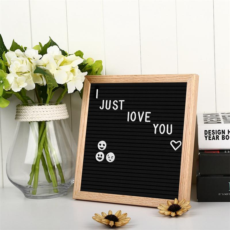 10x10 Inches Felt Cloth Message Board Home Decor Wooden Schedule Modern Chalkboard Blackboard Bulletin Board-Black