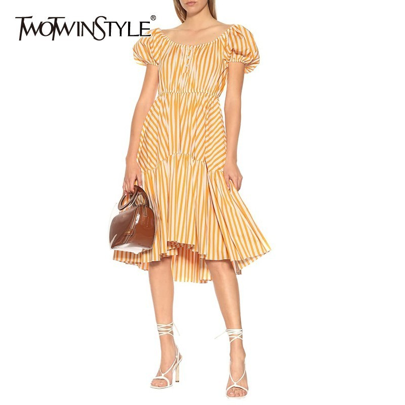 TWOTWINSTYLE Casual Striped Dress For Women O Neck Puff Sleeve High Waist Midi Asymmetrical Dresses Female