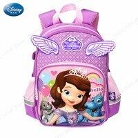 Genuine Disney Cute Princess Sophia School Book Backpack With 3D Angel Wings Kids New Large Capacity Red Bag Girls Creative Gift