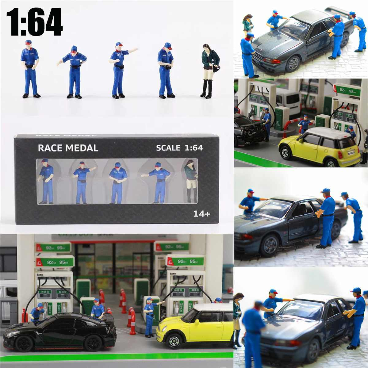 1:64 Scale City model Gas station Scenario Model For Race Medal  Matchbox Greenlight Chirldren Toy Technician Group People Mode
