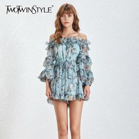TWOTWINSTYLE Sexy Off Shoulder Print Beach Women Jumpsuit Long Sleeve Ruffles Bandage High Waist Loose Playsuit Female Summer