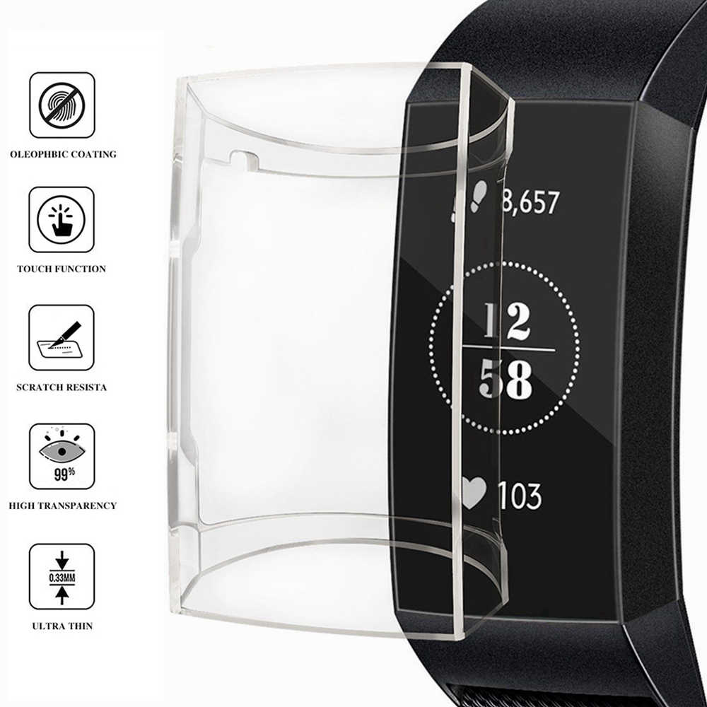 Tpu Transparant Clear Case Beschermende Cover Voor Fitbit Lading 3 Silcone Soft Cases Shell Smart Band Wijzerplaat Screen Protector
