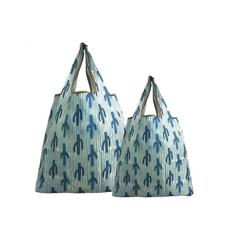 2 Pcs עמיד למים לשימוש חוזר קניות תיק עם פאוץ נייד מתקפל גדול ניילון שקיות עבה תיק עמיד למים Ripstop כתף תיק