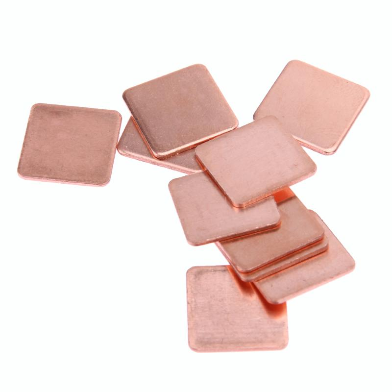 10pcs 15mm*15mm 0.3/0.4/0.5/0.8/1.0mm Heatsink Thermal Conduct Copper Shim Thermal Pads For Laptop IC Chipset GPU CPU Cooling