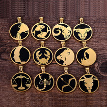 Escorpião 12 constelações colar para homens/mulheres presentes de aniversário ouro cor aço inoxidável amuleto pingente zodíaco sinal jóias