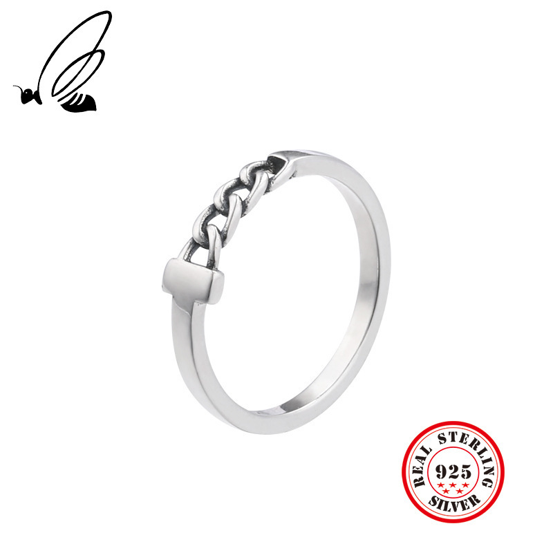 Genuine 925 Sterling Silver Rings Jewelry Chain Design Retro For Women Party Trendy Statement Thai Silver Rings For Women Men in Rings from Jewelry Accessories