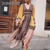 TWOTWINSTYLE Vintage Print Women Dress V Neck Lantern Sleeve High Waist Hit Color Patchwork Midi Dresses Female 2019 Summer