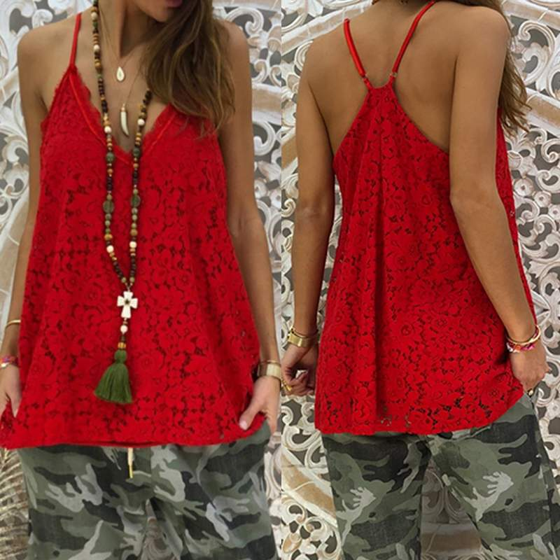 Lace Camis   Top   Women's Summer Blouse Sexy V Neck   Tank     Tops   Tees 2019 Fashion Spaghetti Strap Casual Blusas Hollow Camisole