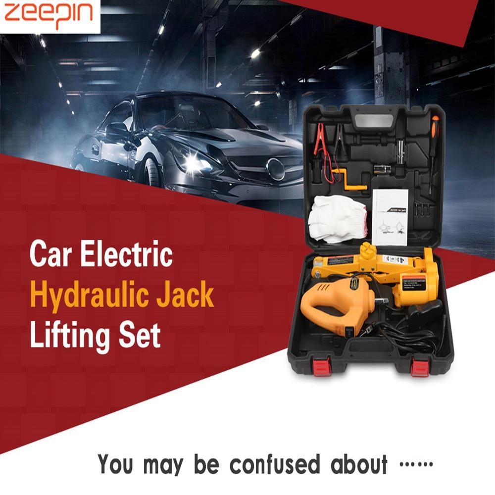 12 V voiture électrique hydraulique plancher Jack ensemble de levage clé à chocs outil clé à chocs outil lumière LED outils de réparation de levage automatique Kit