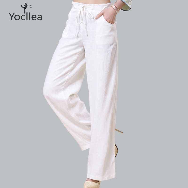 New Summer women Pants Casual High Waist Retro Chinese Style Long Pants Cotton linen Solid white straight Trousers Plus Size