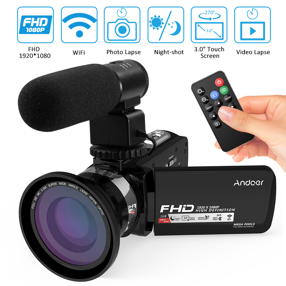 Andoer 1080P HD WiFi 3 0 LCD Touchscreen IR Night Vision Portable Video Camera Camcorder Microphone